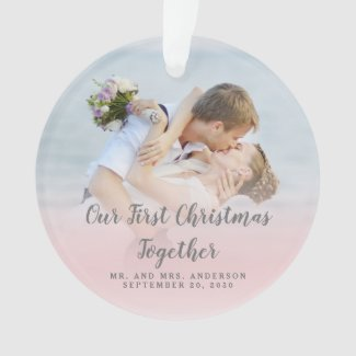 Custom Photo Our First Christmas Together Mr Mrs Ornament