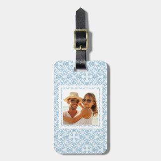 Custom Photo Pale Blue Damask Bag Tag