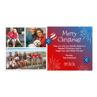 Custom Photo Patriotic Christmas Cards Personalized Photo Card