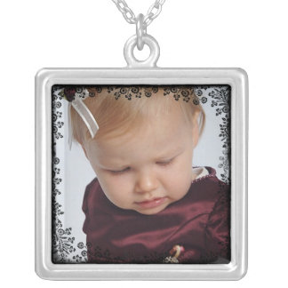 Custom Photo Pendant with Floral Lace Border