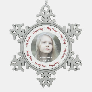 Custom Photo Pewter Snowflake Ornament
