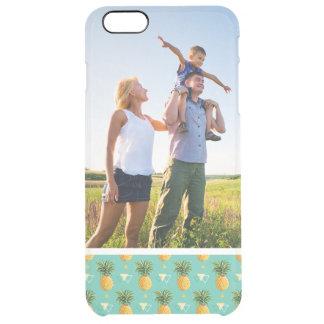 Custom Photo Pineapples On Geometric Pattern Clear iPhone 6 Plus Case