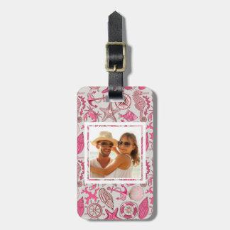 Custom Photo Pink Sea Pattern Bag Tag