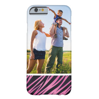 Custom Photo Pink Zebra Stripe Background Barely There iPhone 6 Case