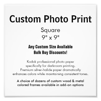 "Custom Photo Print - Square 9"" x 9"""