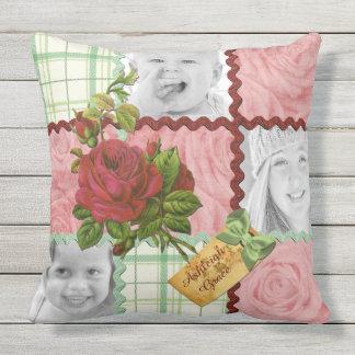 Custom Photo Quilt Block Red Pink Rose Green Plaid Throw Pillow