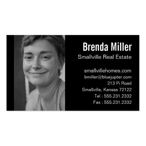Custom Photo Real Estate Business Black White Business Card Template