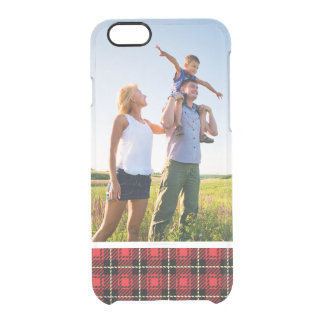 Custom Photo Red Plaid Background Clear iPhone 6/6S Case