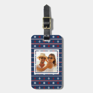 Custom Photo Red White And Blue Nautical Pattern Bag Tag