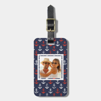 Custom Photo Red White And Blue Navy Pattern Bag Tag