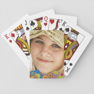 Custom Photo Retro 70s Style Vintage Flowers Playing Cards