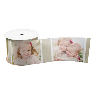 Custom Photo Ribbon | Linen Background Satin Ribbon