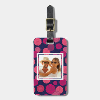 Custom Photo Round flowers pattern Luggage Tag