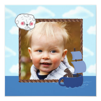 Custom Photo Sailing Chipmunk Child's Party Invite