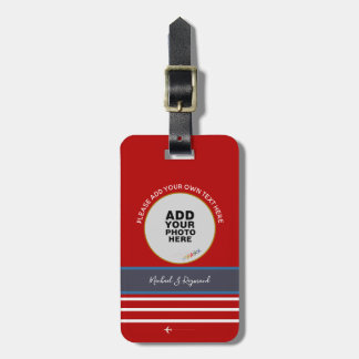 custom photo + signature on red airplane travel luggage tag
