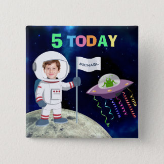 Custom Photo Spaceman Birthday Age 2 Inch Square Button
