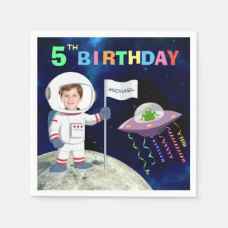 Custom Photo Spaceman Birthday Disposable Napkin
