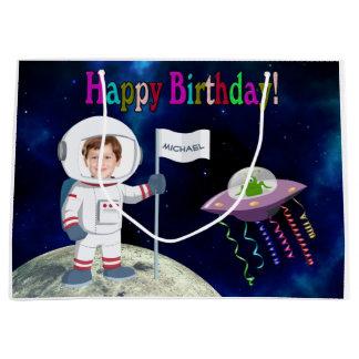 Custom Photo Spaceman Birthday Large Gift Bag