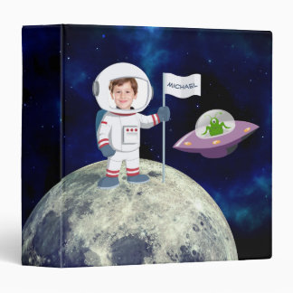 Custom Photo Spaceman on Moon 3 Ring Binder