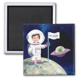 Custom Photo Spaceman on Moon Magnet