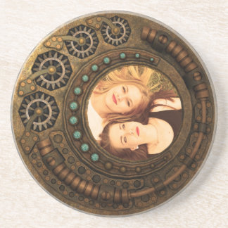Custom Photo Steampunk Clock Time Metal Gears Coaster