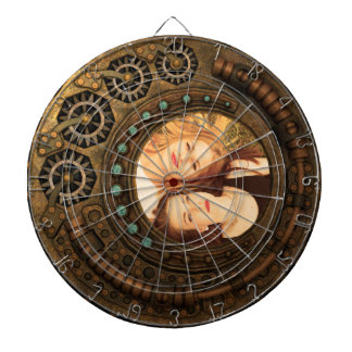 Custom Photo Steampunk Clock Time Metal Gears Dartboard