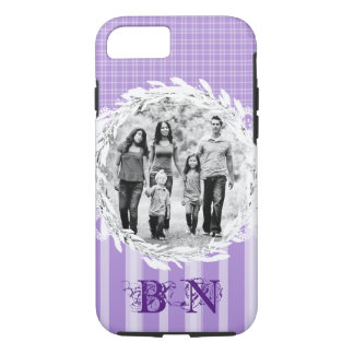Custom Photo Stripe Plaid Pastel Purple iPhone 8/7 Case
