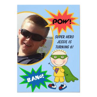 Custom Photo Super Hero Blond  Boy Birthday Invite