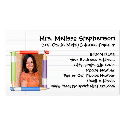 Custom Photo Teacher/School Business Calling Card Business Card
