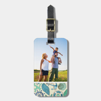 Custom Photo Teal Sea Animals Pattern Bag Tag