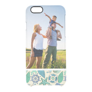 Custom Photo Teal Sea Animals Pattern Clear iPhone 6/6S Case