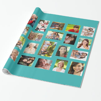 Custom Photo Teal Wrapping Paper