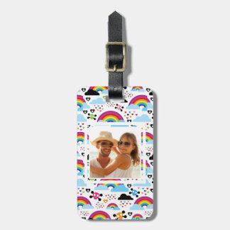 Custom Photo Teenage emo rainbow skull background Bag Tag