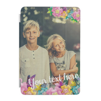Custom Photo Text Animated Flowers and Butterflies iPad Mini Cover