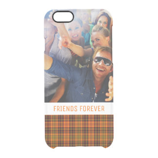 Custom Photo & Text Bright Fall Plaid Clear iPhone 6/6S Case