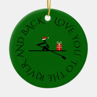 Custom photo text christmas rower green ceramic ornament