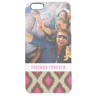 Custom Photo & Text Modern ikat pattern Clear iPhone 6 Plus Case