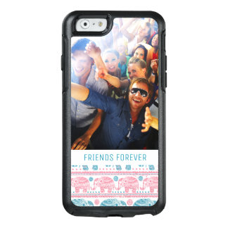 Custom Photo & Text Pink & Teal Elephant Pattern OtterBox iPhone 6/6s Case