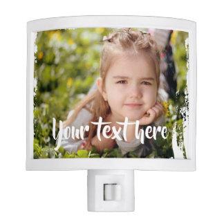 Custom Photo Text Pink White Paint Streaks Borders Nite Lights