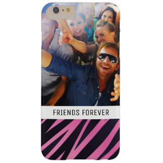 Custom Photo & Text Pink Zebra Stripe Background Barely There iPhone 6 Plus Case