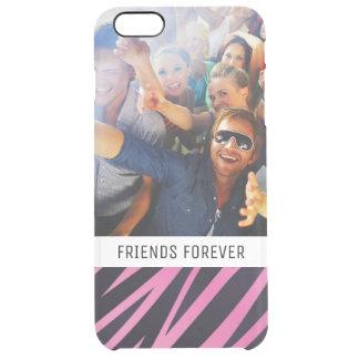 Custom Photo & Text Pink Zebra Stripe Background Clear iPhone 6 Plus Case