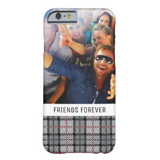 Custom Photo & Text Pixel Plaid in Grey & Red Barely There iPhone 6 Case