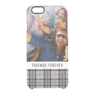 Custom Photo & Text Pixel Plaid in Grey & Red Clear iPhone 6/6S Case