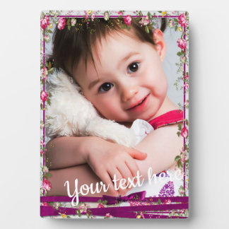 Custom Photo Text Purple Ribbon Floral Frame