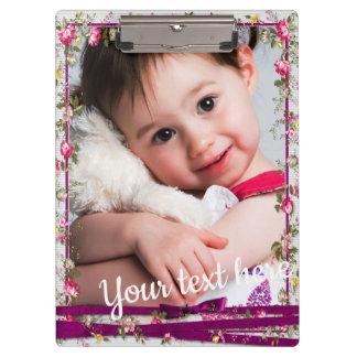 Custom Photo Text Purple Ribbon Floral Frame Clipboard