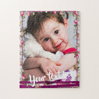 Custom Photo Text Purple Ribbon Floral Frame Jigsaw Puzzle