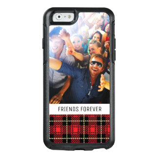Custom Photo & Text Red Plaid Background OtterBox iPhone 6/6s Case