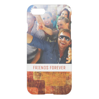 Custom Photo & Text Squares on grunge wall iPhone 7 Case