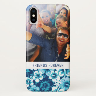 Custom Photo & Text Surf Floral Hibiscus Pattern iPhone X Case