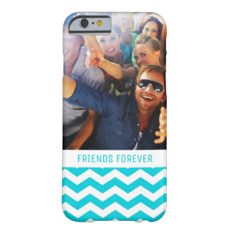 Custom Photo & Text White and Aqua Zig Zag Pattern Barely There iPhone 6 Case